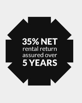 35% NET rental return assured over 5 years